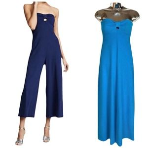 SUSANA MONACO Jumpsuit Wide Leg Cinch Front Blue